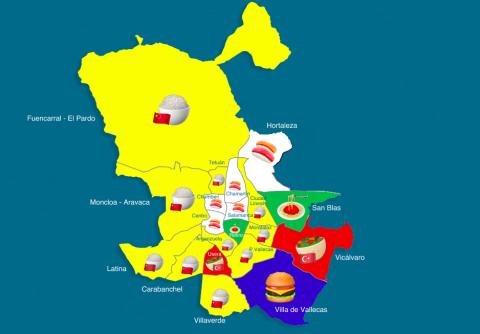 Mapa de comida a domicilio en Madrid