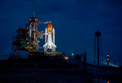 Space shuttle Atlantis at Launchpad 39A in Cape Canaveral, Florida — the final flight of the NASA program.