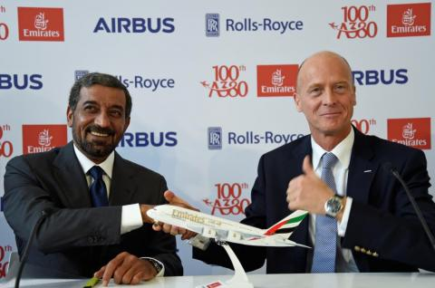 But no customer is more important than Emirates and its CEO, Shiekh Ahmed bin Saeed Al Maktoum, seen here with Airbus CEO Tom Enders.