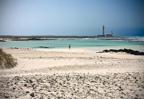 Paisaje de la Playa de Cotillo, en Fuerteventura.