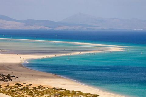 Paisaje de la Playa de Sotavento, en Fuerteventura.