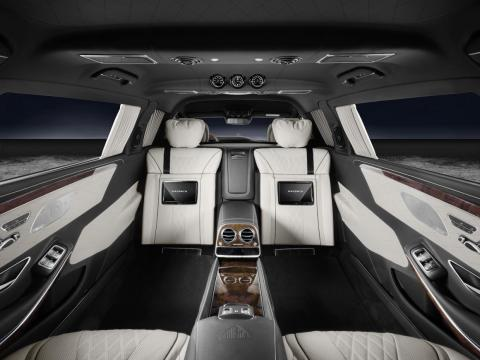The Pullman Guard's rear cabin can also be fitted with rearward-facing jump seats to increase seating capacity for in-car meetings.