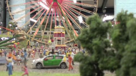 This scene is meant to resemble a county fair in central Germany.
