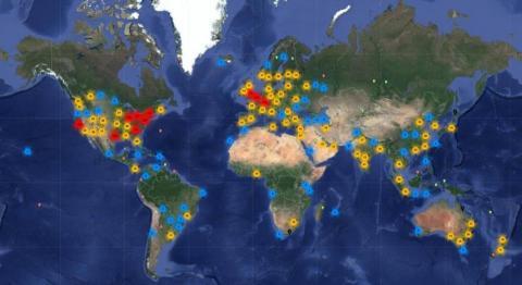 El sitio web de Data Center Map utiliza Google Maps para identificar los servidores de datos de todo el mundo.