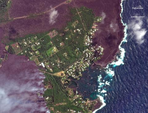 Take, for example, Kapoho Bay, which is close to Kapoho Crater, an active crater on the Kilauea volcano. This is a satellite image of the bay on June 3, as lava approached.