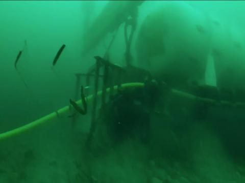 Then the data centre had to be lowered 117 feet to the sea floor — hopefully without springing a leak. That involved 10 winches, a crane, a gantry barge, and a remotely operated vehicle.