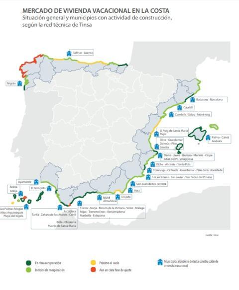 Actividad de construcción por municipios