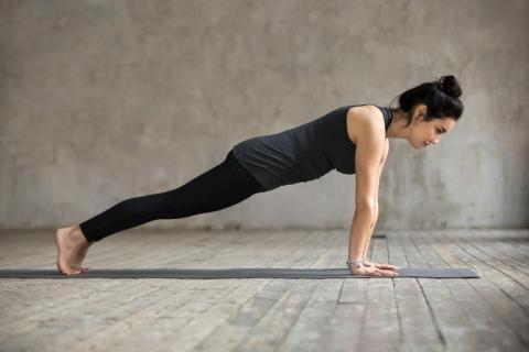 Another reason fitness experts love the plank: much like the push-up, it gets at a bunch of ab muscles all at once.