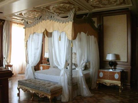 The bedrooms are suitably grandiose.