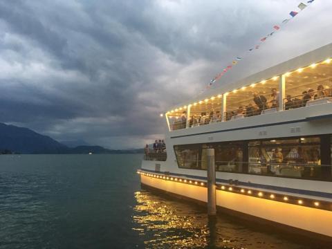 The boat docked on Lake Zug.
