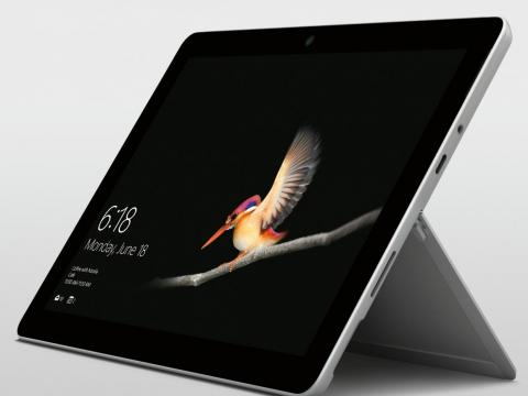 A closer look at the Microsoft Surface Go shows that it has a headphone jack, a Surface Connect charger port, and a single USB-C port.