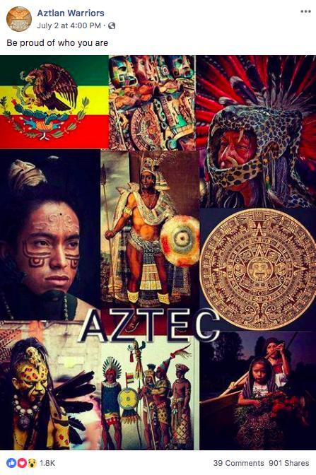 """Colonialism and Native-American heritage was the focus of multiple posts included in Facebook's sample set, most of them created by an account called """"Aztlan Warriors."""""""