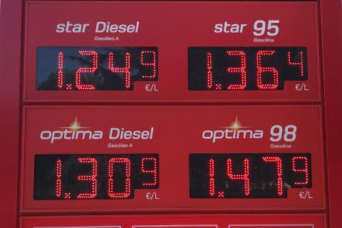 Precio de los carburantes en una estación de servicio de Madrid el 24 de julio de 2018.