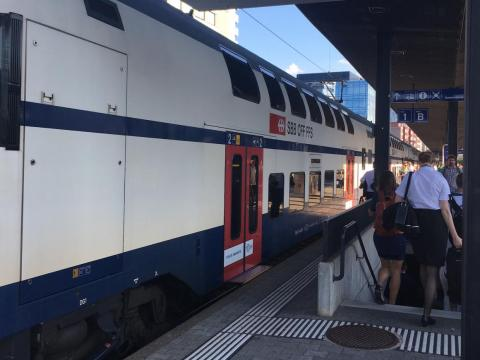 The double-decker train in the station at Zug.