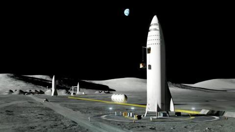 Una ilustración de los vehículos Starship de Elon Musk y SpaceX ayudando a establecer una base lunar.