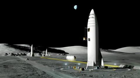 Una ilustración del cohete del Space X de Elon Musk en una base lunar.