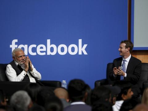 El primer ministro indio, Narendra Modi, y el CEO de Facebook, Mark Zuckerberg.