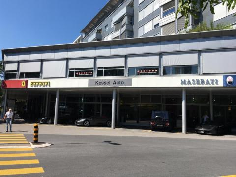 A luxury car dealership in Zug.