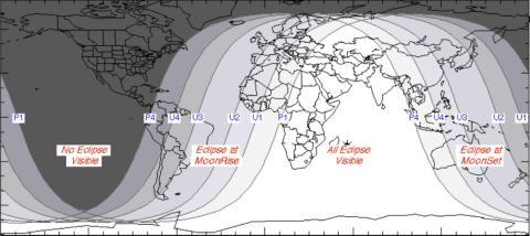 Mapa de las localizaciones donde se verá el eclipse total lunar [RE]