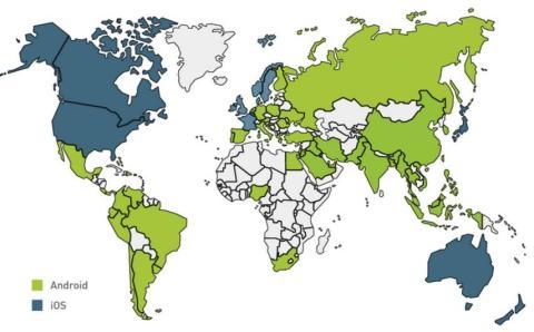 Mapa Android vs iOS IDC