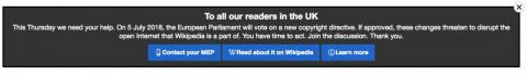 This message is at the top of Wikipedia in the UK.