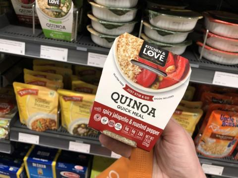 I did my best to trick Amazon Go. I picked up a heaping handful of things I had no intention of buying — sorry, quinoa bowl, I'm sure you're lovely — put them all back, then picked up two totally unrelated items.