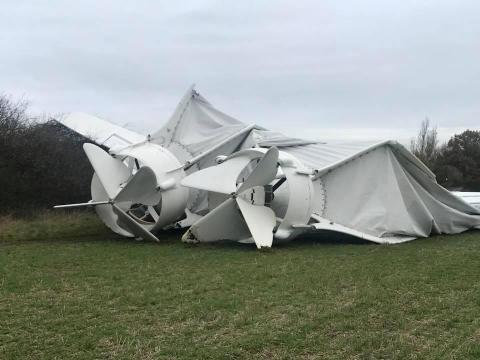 Part of the collapsed airship Airlander 10 is seen in Bedfordshire, Britain November 18, 2017 in this picture obtained from social media.