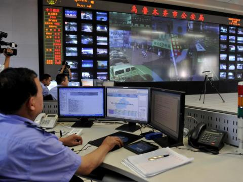 Police in China monitor vast quantities of surveillance cameras from central command hubs.