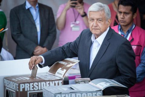 Presidential candidate Andres Manuel Lopez Obrador casts his vote during Mexico's 2018 presidential election in Mexico City, Mexico, July 1, 2018.