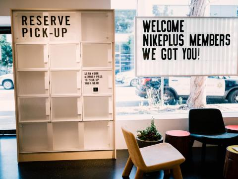 The reserve pick-up lockers can hold shoes for members to come in and try on — no purchase required.