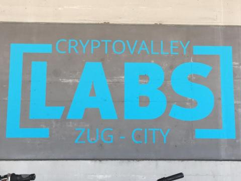 A sign outside of the Crypto Valley Labs coworking space in Zug.