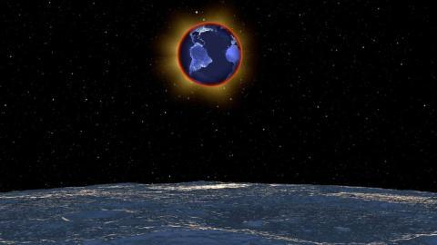 Una vista simulada de la Tierra desde la luna durante un eclipse total [RE]