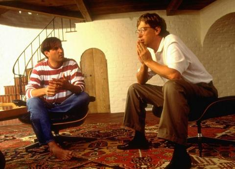 Steve Jobs and Bill Gates in the early days of Microsoft and Apple.