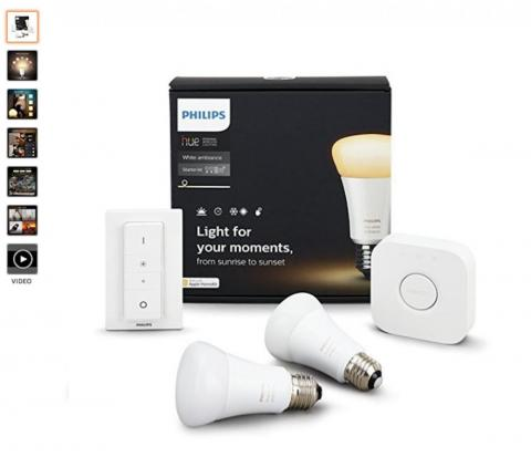 "They also bought a lot of <a href=""https://amzn.to/2uu6LQy"">Philips Hue light bulbs</a>."