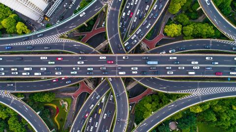 Vista aérea cruce de carreteras