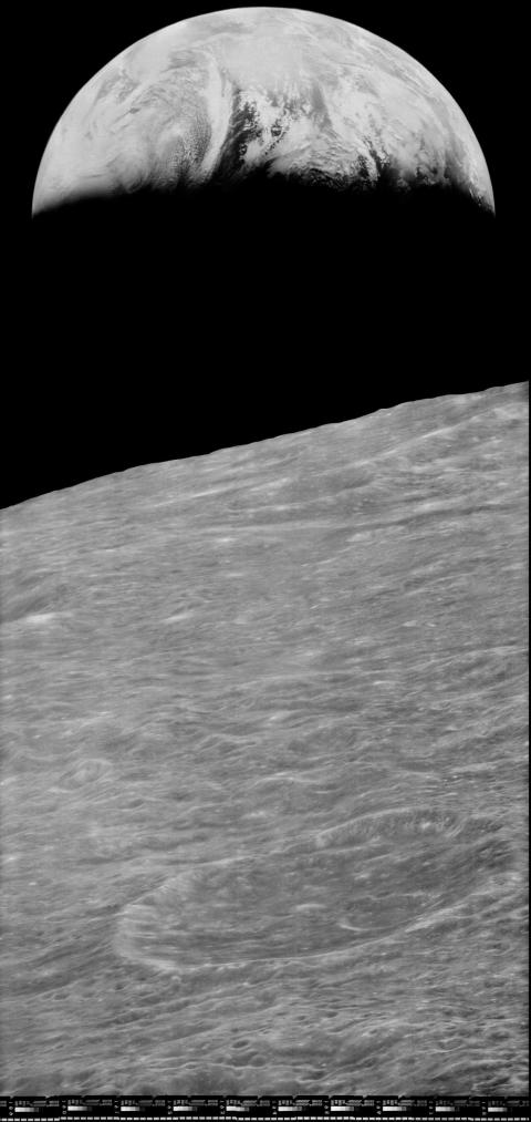 In 2008, the Lunar Orbiter Image Recovery Project (LOIRP) released this high-resolution version of a Lunar Orbiter 1 photo of Earth from the moon.