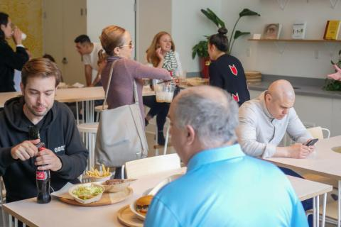 On a weekday afternoon during the company's soft opening, the place was packed with tech bros and gals munching down.