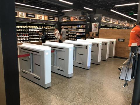 The whole point of Amazon Go is that there are no lines, no cashiers, and no waiting. Those turnstiles you see here are the closest things to cash registers — you scan your phone as you walk in, and that's pretty much it.