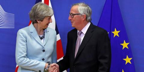 UK Prime Minister Theresa May and Jean-Claude Juncker