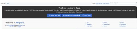 wikipedia se apaga por protestas a normativa de derechos autor UE