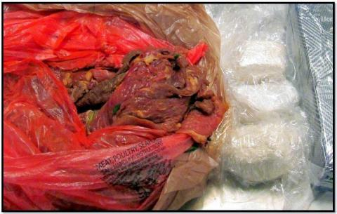 18. Three pounds of cocaine stuffed in meat