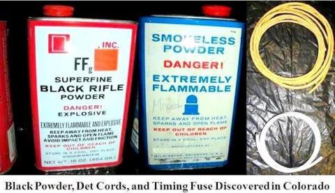 20. Gunpowder with detonation cords, and timing fuse