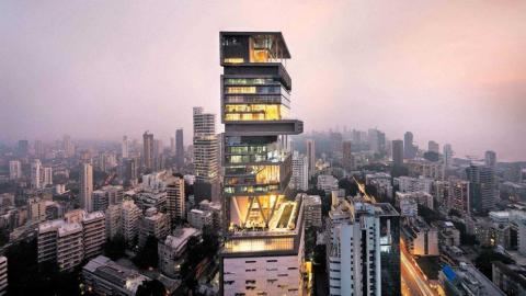 In 2006, Indian business magnate Mukesh D. Ambani built the 27-floor Antilia skyscraper, which serves as his private residence.