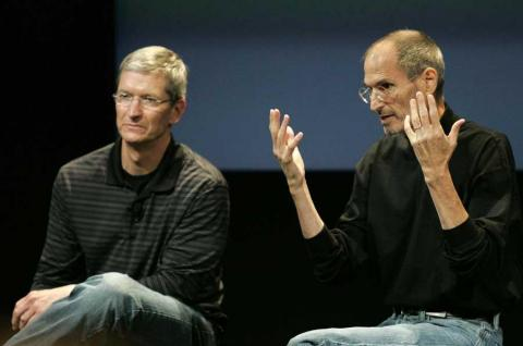 Cook and Jobs answer questions about the iPhone 4 in 2010.