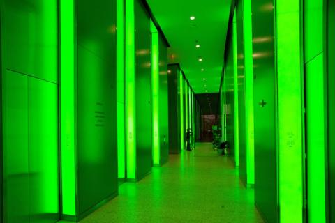 3 World Trade Center's lobby also has the unique ability to change colors, which the building's management controls. Here's what it looks like bathed in green light: