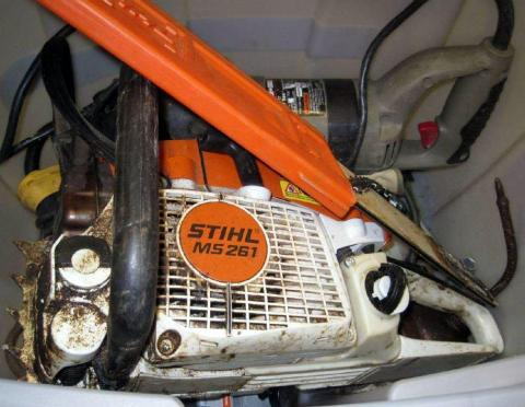 7. A fully-fueled chainsaw in checked luggage