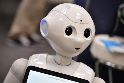 Pepper, a humanoid robot at the 2018 eBIT technology trade fair in Hanover, Germany.