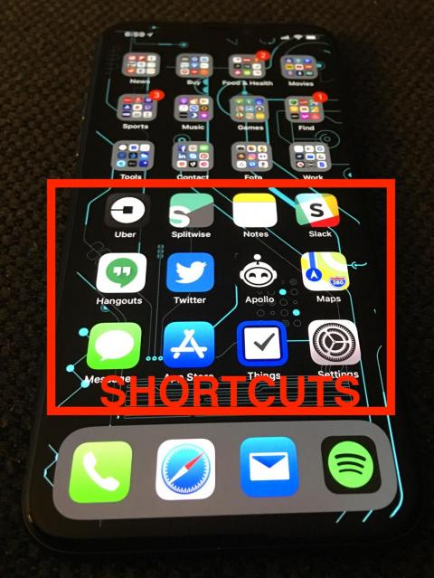 Above the Dock are all my Shortcuts: I use these 12 apps very often, so I don't organize them into folders — out of sight, out of mind, you know — and I keep all of them lower on the screen so they're easier to reach with my thumb