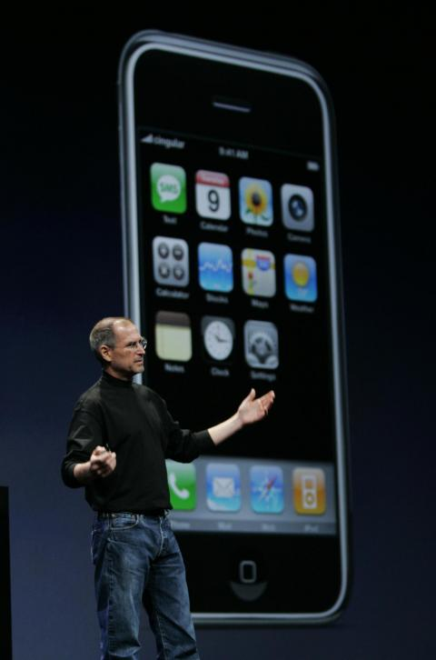 After years of speculation, Jobs would officially unveil the iPhone at January 2007's Macworld Expo. It combined the music features of the iPod with a slick, responsive touch screen that didn't need a stylus, unlike most mobile