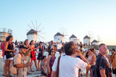 Outside of the beaches, the main thing to see in Mykonos is the windmills that sit above the Hora, or main town of the island. But during sunset, and when the cruise-shippers come in, the area is swarmed with people trying to get